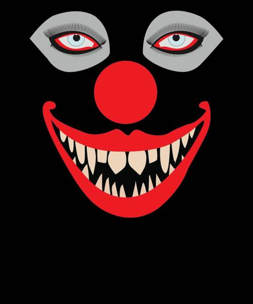 Trick Or Treat Drawing - Halloween Evil Clown Face by Kanig Designs