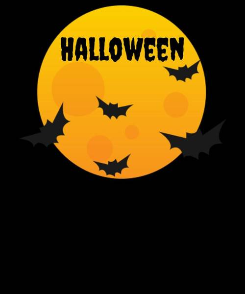 Trick Or Treat Drawing - Halloween Fun Full Moon And Bats by Kanig Designs