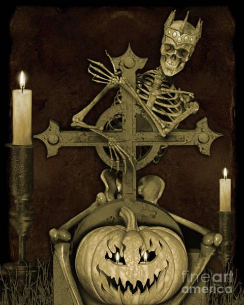 Wall Art - Digital Art - Halloween Graveyard-a by Jean Plout
