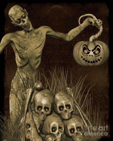Wall Art - Digital Art - Halloween Graveyard-b by Jean Plout