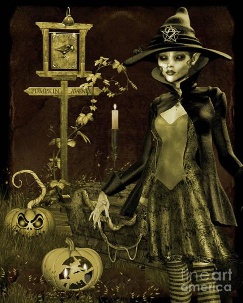 Wall Art - Digital Art - Halloween Graveyard-c by Jean Plout