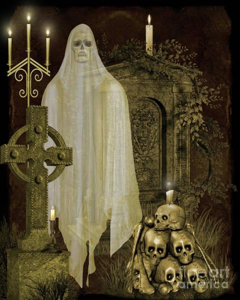 Wall Art - Digital Art - Halloween Graveyard-f by Jean Plout
