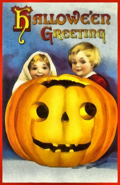 Photograph - Halloween Greeting From The Great Pumpkin by Ellon Clapsaddle