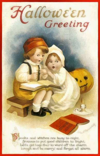 Photograph - Halloween Greeting From Two Little Kids by Ellen Clapsaddle