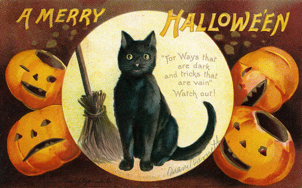 Full Moon Painting - Halloween Greetings With Black Cat And Carved Pumpkins by Ellen Hattie Clapsaddle