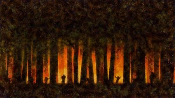 Wall Art - Painting - Halloween Horror Zombie Rampage by Sarah Kirk