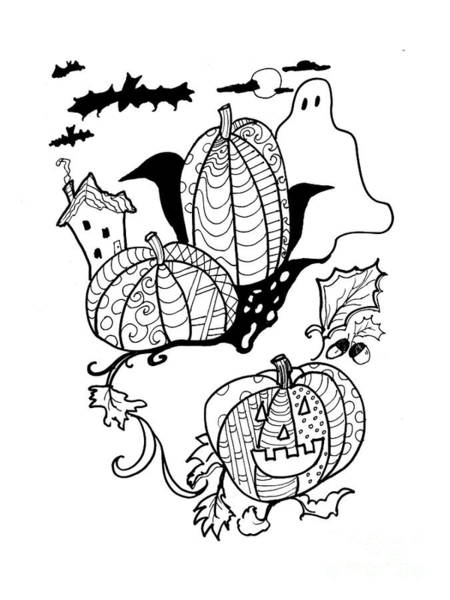 Drawing - Halloween Ink Coloring Book Image by Robin Maria Pedrero