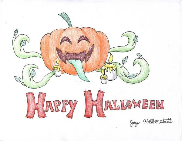 Drawing - Halloween by Jayson Halberstadt