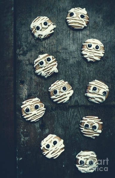 Cookies Photograph - Halloween Mummy Cookies by Jorgo Photography - Wall Art Gallery