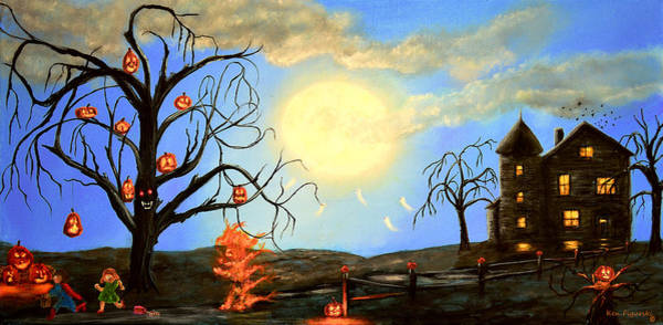 Wall Art - Painting - Halloween Night Two by Ken Figurski