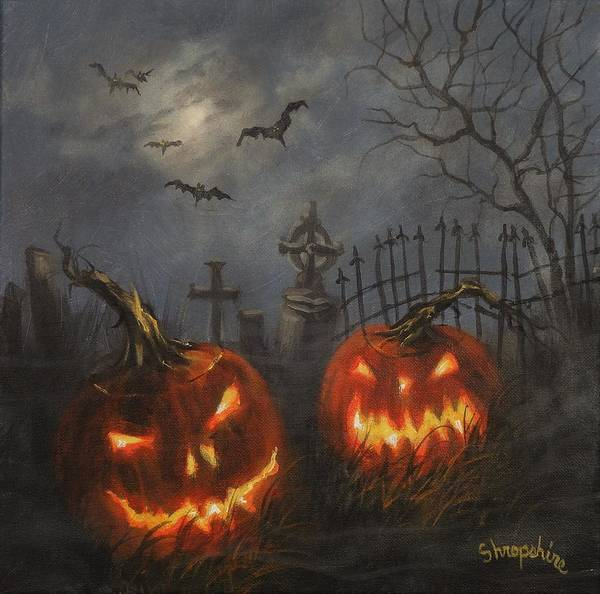 Wall Art - Painting - Halloween On Cemetery Hill by Tom Shropshire