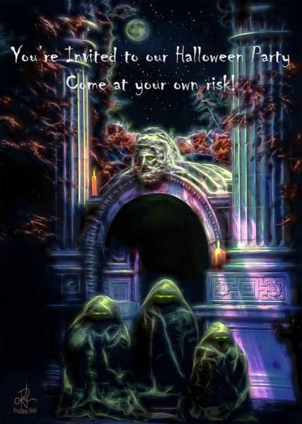 Digital Art - Halloween Party Invitation - The Gate Keeper by Pennie McCracken