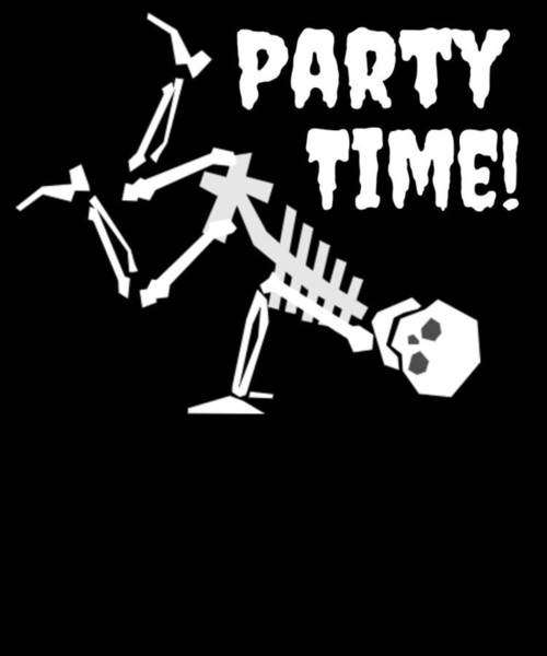 Trick Or Treat Drawing - Halloween Party Time Dancing Skeleton Bust A Move by Kanig Designs