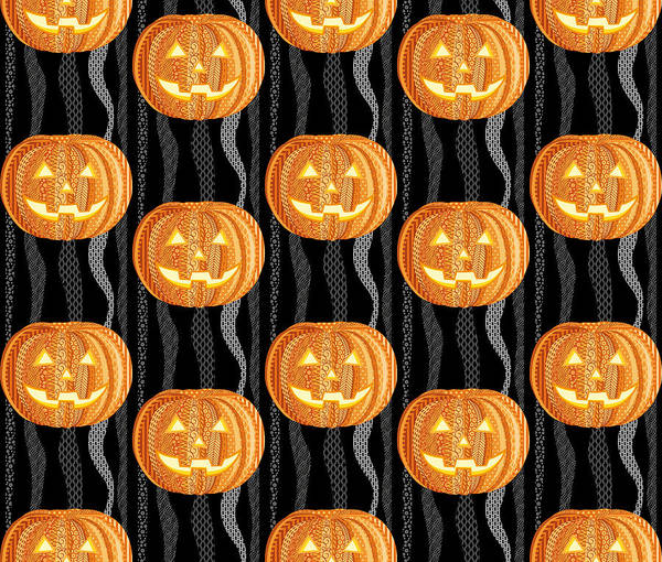 Halloween Digital Art - Halloween Pattern by Veronica Kusjen