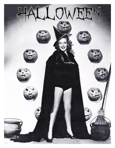 Wall Art - Photograph - Halloween Pin Up Witch Posing Surrounded With Pumpkins by Long Shot