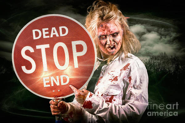 Horrible Photograph - Halloween Portrait. Scary Zombie Holding Stop Sign by Jorgo Photography - Wall Art Gallery