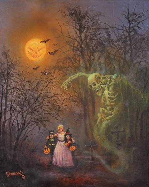 Wall Art - Painting - Halloween Spook by Tom Shropshire