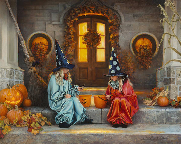 Pumpkins Wall Art - Painting - Halloween Sweetness by Greg Olsen