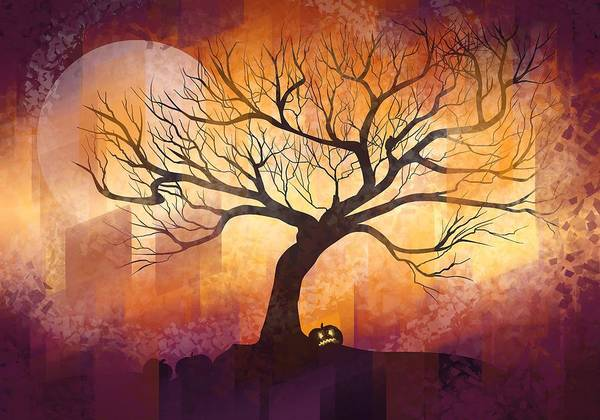 Fall Wall Art - Painting - Halloween Tree by Thubakabra