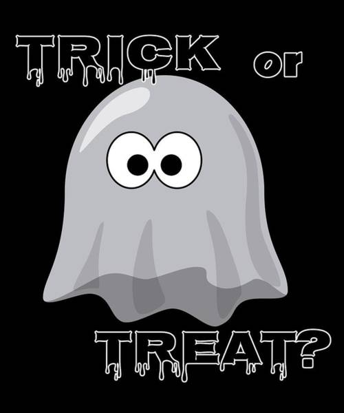 Trick Or Treat Drawing - Halloween Trick Or Treat Spooky Ghost by Kanig Designs