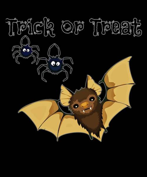Trick Or Treat Drawing - Halloween Trick Or Treat Vampire Bat And Spiders by Kanig Designs