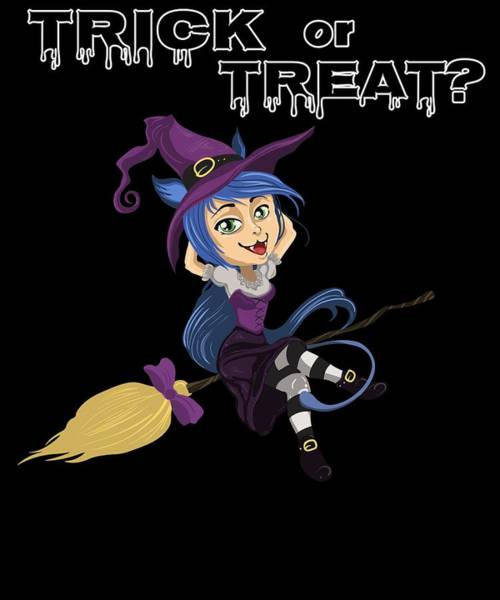 Trick Or Treat Drawing - Halloween Trick Or Treat Witch On Broomstick by Kanig Designs