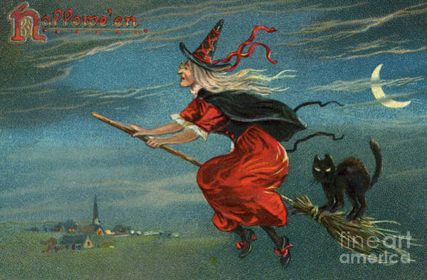 Wall Art - Painting - Halloween Witch And Black Cat Riding Broom At Night by American School