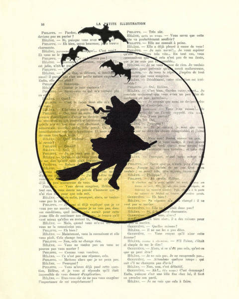 Halloween Digital Art - Witch Flying With Full Moon by Madame Memento