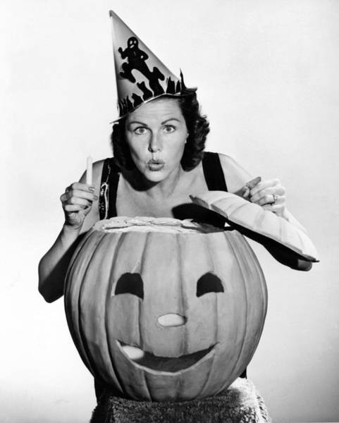 Afraid Photograph - Halloween Woman And Pumpkin by Underwood Archives
