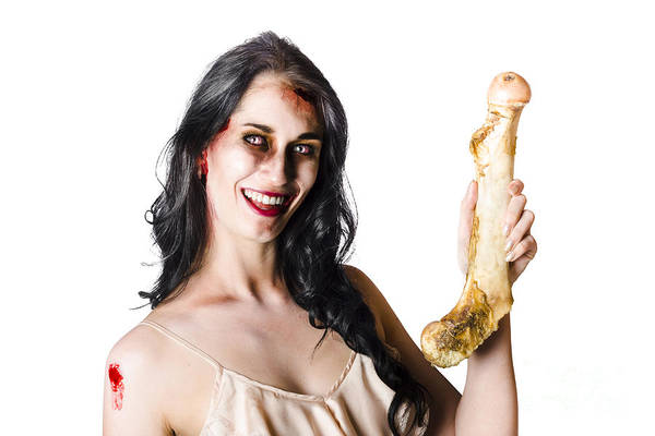 Bleeding Photograph - Halloween Zombie Holding Human Bone by Jorgo Photography - Wall Art Gallery