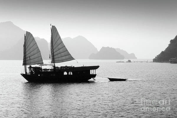Wall Art - Photograph - Halong Bay Black And White by Delphimages Photo Creations