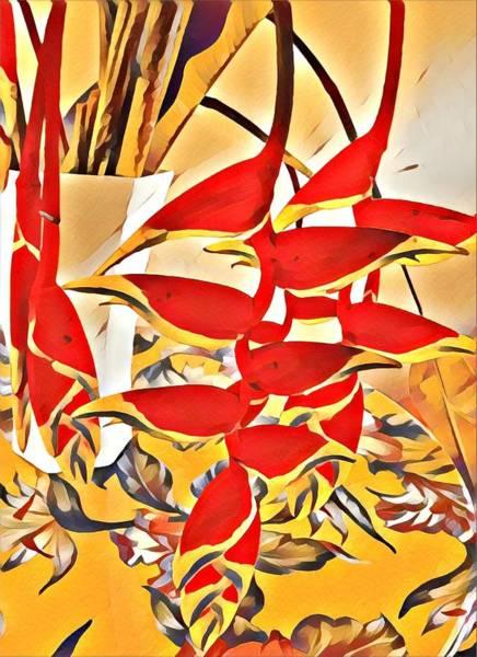 Halyconia Bouquet In Orange Art Print