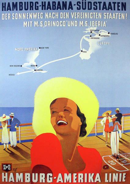 Wall Art - Painting - Hamburg - America Cruise, Smiling Woman On Boat by Long Shot