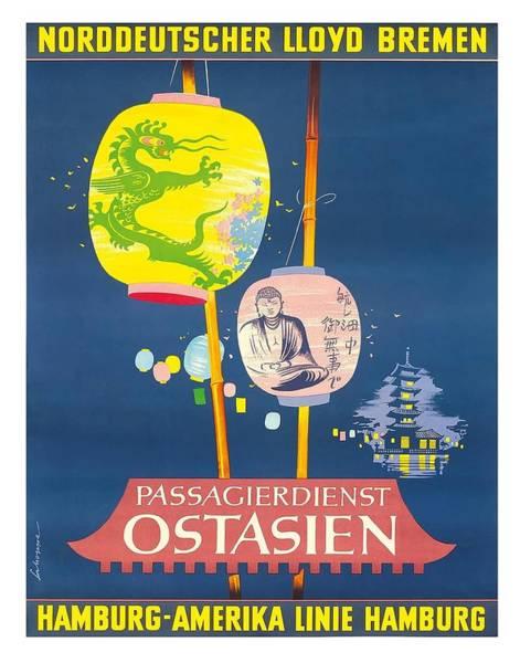 Bremen Wall Art - Digital Art - Hamburg America Line Vintage Ocean Liner Travel Poster By Fritz Schoppe by Retro Graphics