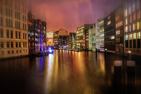 Time Exposure Wall Art - Photograph - Hamburg By Night  by Carol Japp