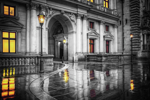 Rathaus Photograph - Hamburg Town Hall Courtyard In Black And White  by Carol Japp