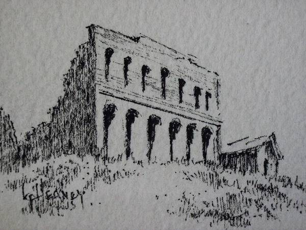 Drawing - Hamilton Ghost Town Nevada by Kevin Heaney