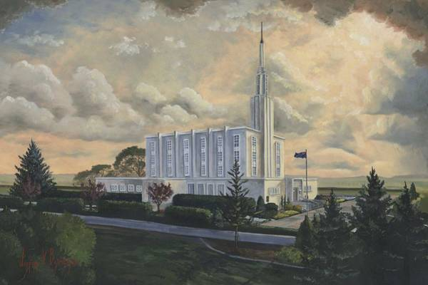 Pine Trees Painting - Hamilton New Zealand Temple by Jeff Brimley