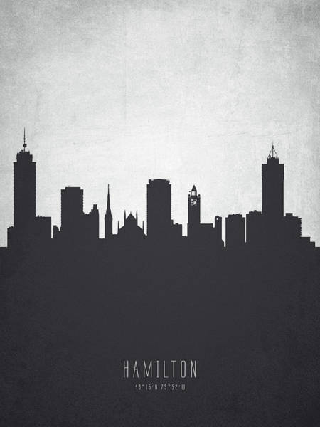 Wall Art - Painting - Hamilton Ontario Cityscape 19 by Aged Pixel