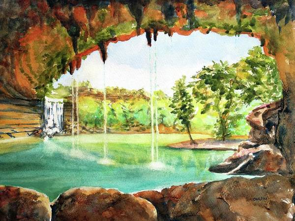 Painting - Hamilton Pool Texas by Carlin Blahnik CarlinArtWatercolor