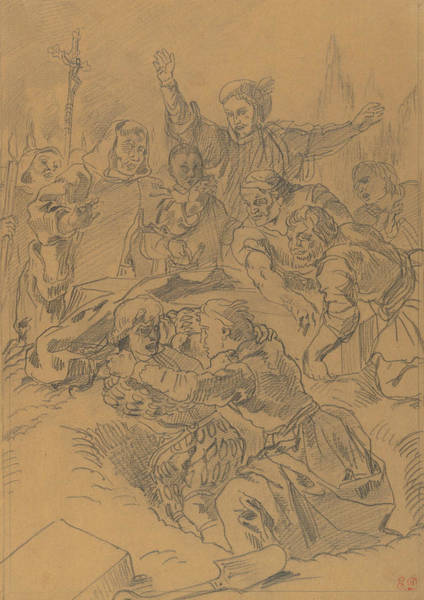 Drawing - Hamlet And Laertes At The Tomb Of Ophelia by Eugene Delacroix