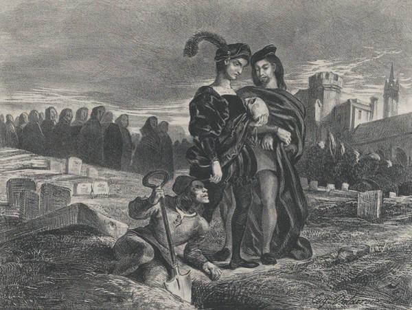Relief - Hamlet Contemplating Yorick's Skull by Eugene Delacroix
