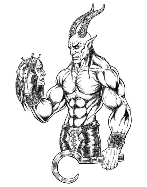 Demonic Drawing - Hamlet Devil by Alaric Barca