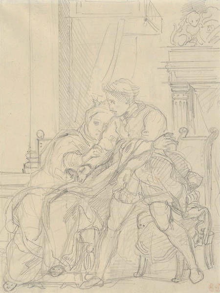 Drawing - Hamlet Reproaches His Mother by Eugene Delacroix