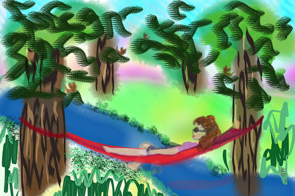Art Print featuring the digital art Hammock Under The Chihuahua Trees by Teresa Epps