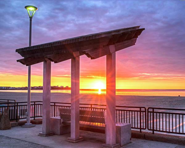 Photograph - Hampton Beach Sunrise Hampton Beach State Park Hampton Nh Bench by Toby McGuire