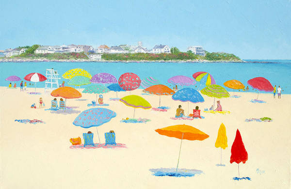 New Hampshire Painting - Hampton Beach Umbrellas by Jan Matson