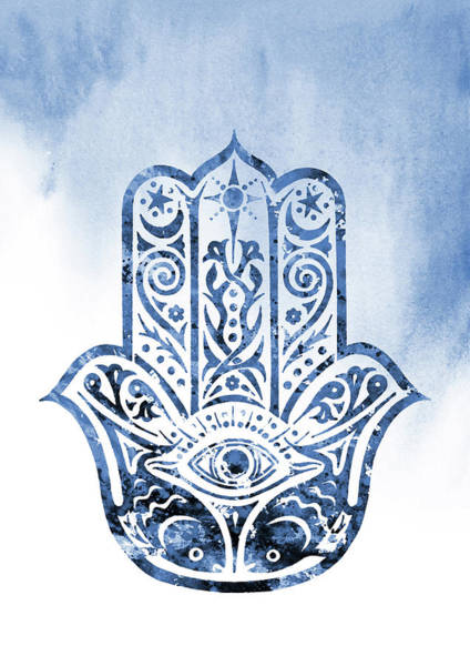Amulet Digital Art -  Hamsa Hand-blue by Erzebet S