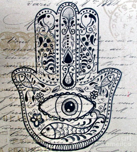 Painting - Hamsa by Pristine Cartera Turkus