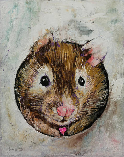 Heart Gold Painting - Hamster Love by Michael Creese